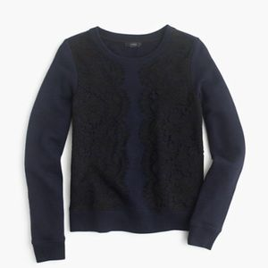 J. CREW~Navy/Black Lace Embellished Sweatshirt~XL